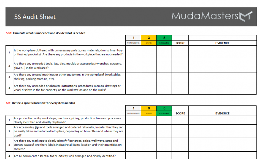 5S Audit Form
