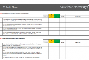 MudaMasters 5S audit Form